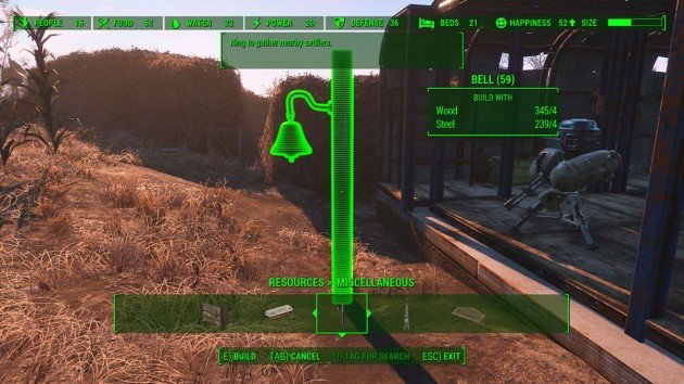 Fallout 4 - Unstuck Settlement - Build a Bell